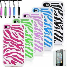 Combo Hard Soft Silicone Armor Zebra Pattern Case Cover For Apple iPhone 4 4S US