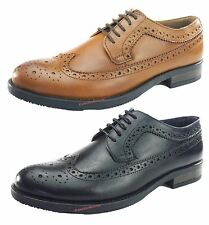 Silver Street Downing Tan Black Mens Leather Lace Up Brouge Shoes