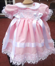 DREAM BABY SPANISH LINED FRENCH GUIPUR DRESS nb up age 2 years OR REBORN DOLLS