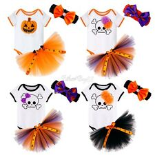 Halloween Newborn Baby Girls Romper Tutu Skirt Pumpkin Outfits Headband Costumes