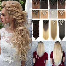 100% Real Thick 8 Piece Clip In Hair Extensions Full Head 8pcs As Human Hair T3k