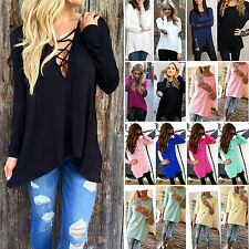 Womens Casual Loose Tshirt Long Sleeve Crew Neck Tunic Tops Tee Blouse Pullover