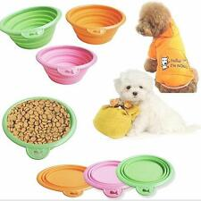 New Silicone Pet Bowl Travel Outdoor Puppy Cat Feeding Food Drink Collapsible TM