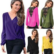 Women's Fashion Blouse Chiffon Lace Crochet Long Sleeve Shirt Casual V-Neck Tops