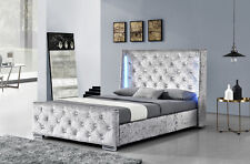LED Designer Diamante Winged Headboard Crushed Velvet or Grey Fabric Bed