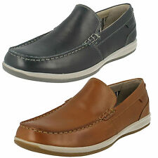 MENS CLARKS SLIP ON LEATHER MOCCASIN CASUAL LOAFER SHOES FALLSTON STEP
