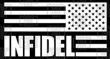2x Infidel Reversed American Flag Subdued Window Sticker decal USA (QTY2)