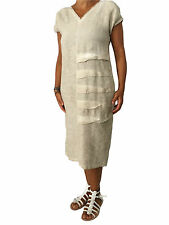 MYLAB women's dress beige tinto cold 100% linen MADE IN ITALY wearability over
