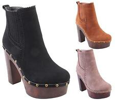 NEW WOMENS LADIES CHUNKY BLOCK HEEL PLATFORM CHELSEA ANKLE BOOTS SHOES SIZE 3-8