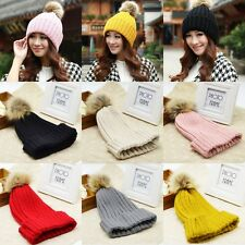 Braided Crochet Wool Knit Beanie Beret Ski Ball Cap Baggy Ladies Autumn Warm Hat