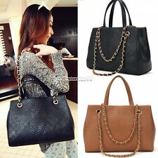 Retro Women Lady PU Quilted Crocodile Shoulder Tote Bag Handbag Purse Fashion FT
