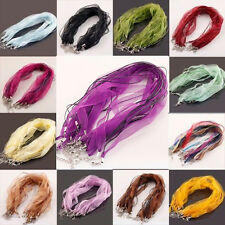 New 10Pcs Organza Voile String ribbon Cord Necklace Lobster Clasp Chain 18''