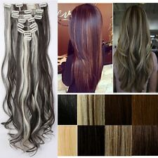 Women Real Thick Ombre Full Head Clip In Hair Extensions Brown Gray As Human fdc