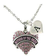 Custom Pink Crystal Mother of the Bride Silver Necklace Jewelry Choose Initial