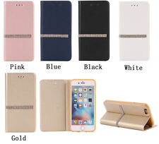 Luxury Bling Flip Card Holder PU Leather Stand Case For Iphone Samsung galaxy
