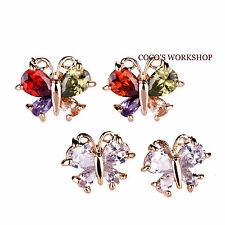 18K GOLD PLATED AUSTRIAN CRYSTAL BUTTERFLY STUD EARRINGS WOMENS XMAS GIFT