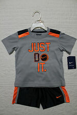 NEW BOYS NIKE BASEBALL 2 PIECE SET SHIRT AND SHORTS OUTFIT $40 JUST DO IT
