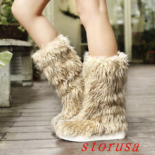 Furry Women Lady Flat Heel Mid Calf Boots Shoes Winter Warm Fashion Snow Boots