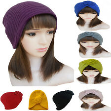 New Winter Womens Knit Flower Turban Ski Beanie Hat Cap A232