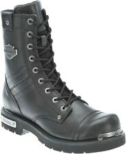 """Harley-Davidson® Men's 8"""" Flatwood Black Leather Motorcycle Riding Boots D96105"""