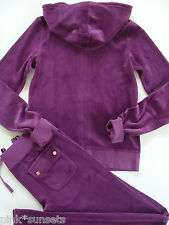 Juicy Couture Velour Royal Magenta Tracksuit Hoodie Pocket Pants Track