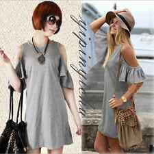 Summer Womens Casual Lotus Leaf Sleeve Off Shoulder Knitted Sexy Mini Dress