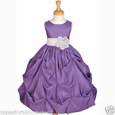 TAFFETA PURPLE FLOWER GIRL DRESS WEDDING BRIDESMAID PAGEANT 12M 2 2T 3T 4 6 8 10