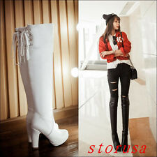 Hot Women High Block Heel Platform Over Knee High Boots Shoes Pull On Size New