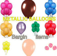 10 - 100 Latex 10' Metallic LARGE Helium Balloons For Kids, Weddings & Party's