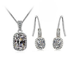 18k White Gold GP Crystal pendant Square CZ Zircon Topaz Necklace Earrings Set