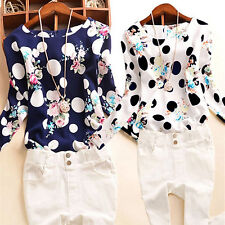 Lady's Polka Dots Floral Printed T-Shirt Long Sleeve Casual Tops Blouse Ornate