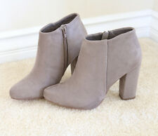 Fall Chic Outfit Faux Suede Ankle Boots Booties with Covered Block HeelTaupe
