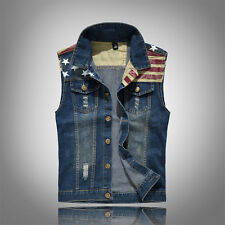 Men's Cowboy Vest Waistcoat Stars Stripes Denim Vest Coat Jacket Jeans Weskit