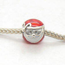 Genuine Authentic S925 Silver Jolly Santa with Red and White Enamel Bead charm