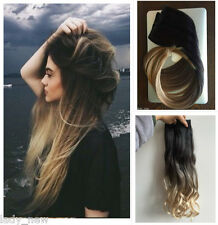 """20 22"""" Straight Curly Wavy Clip in Hair Extensions Ombre Black Sandy Blonde"""