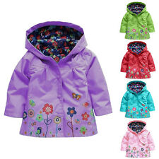 P3 New Girls Kids Rain Jacket Flowers Hooded Raincoat Waterproof Outwear Poncho