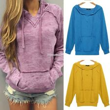 Women Long Sleeve Sweats V-Notch Hoodies Burnout Yellow Pink Leisure Loose FT