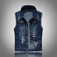 New Fashion Mens Denim Vest Jean Jacket Sleeveless Shirt Biker Coat Waistcoat