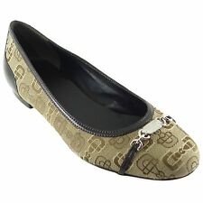 GUCCI 256342 Horsebit Canvas Metal Logo Ballet Flats 39 US9