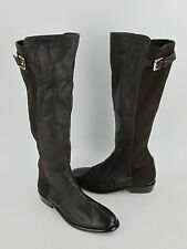 New Coach Lilac Black Leather Knee High Stretch Boots RTL $398