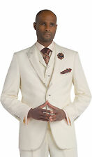 EJ Samuel Suit Mens Cream Formal Brown Stitch 3 Piece M2688 Blazer Vest Pants
