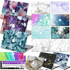 Marble Skin Logo Cut Rubberized Painting Hard Case For Macbook Laptop + KB Cover