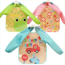 New Baby Toddler Coverall Bib Apron With Cute Animals And Waterproof Backing lSi