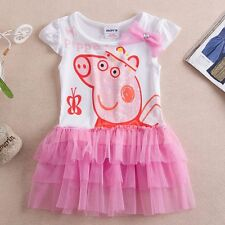 New Girls Peppa Pig Tutu Dress Short Sleeve Skirt Top Dress