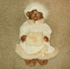 "Jointed 14 "" Brown Bear with Fur Trimmed Valour Hat Coat & Muff by Bearington"