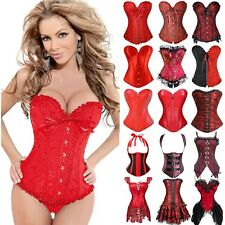 Steampunk Sexy Lace up Boned Red Corset Waist Cincher Shaper Overbust Bustiers