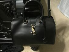 AUTHENTIC YSL SAINT LAURENT SMALL MONOGRAM CABAS BAG BLACK LEATHER
