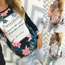 Womens Casual Floral Long Sleeve Tops Shirt Ladies Loose T-shirt Pullover Blouse