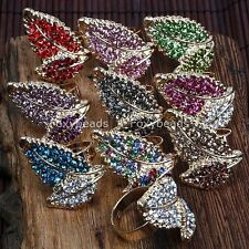 1pc Alloy Crystal Bead Cocktail Leaf Jewelry Women Finger Ring Us6.5 Adjustable