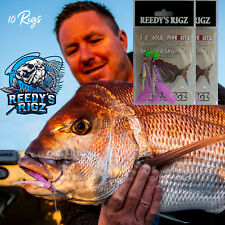 10 Snapper Rigs Fishing Rig Bait 60lb 6/0 Pink  Flasher Rig Paternoster Hook